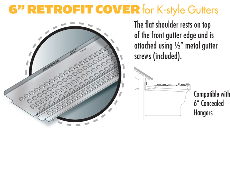 6-inch Retrofit Cover for K-style Gutters